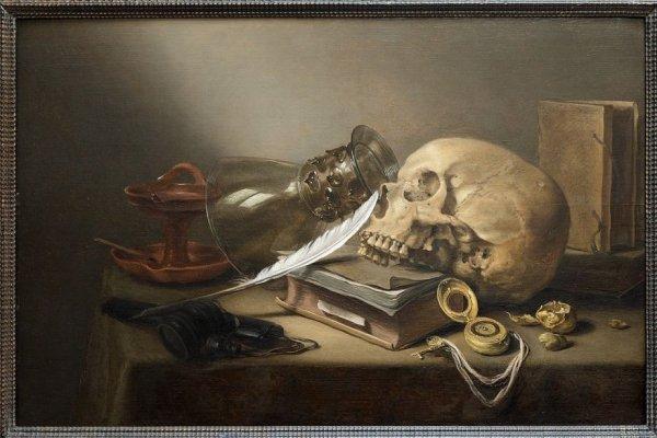 Pieter Claesz 1597-1660. Nature morte au crâne avec livres coupe Römer, lampe à huile et plume. Peinte en 1645 cette oeuvre est l'une des plus importantes de la collection Hornstein.