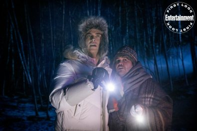 Cheyenne Jackson and Harvey Guillen in WEREWOLVES WITHIN, produced by Ubisoft Film & Television, Vanishing Angle, and Sam Richardson. IFC Films will release the film June 25th, 2021 in select theaters and on demand.