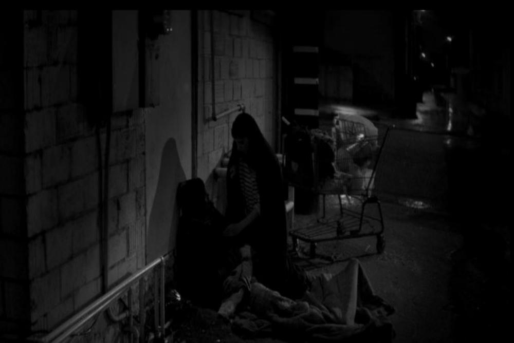 Fig. 2, Girl walks home, the homeless man