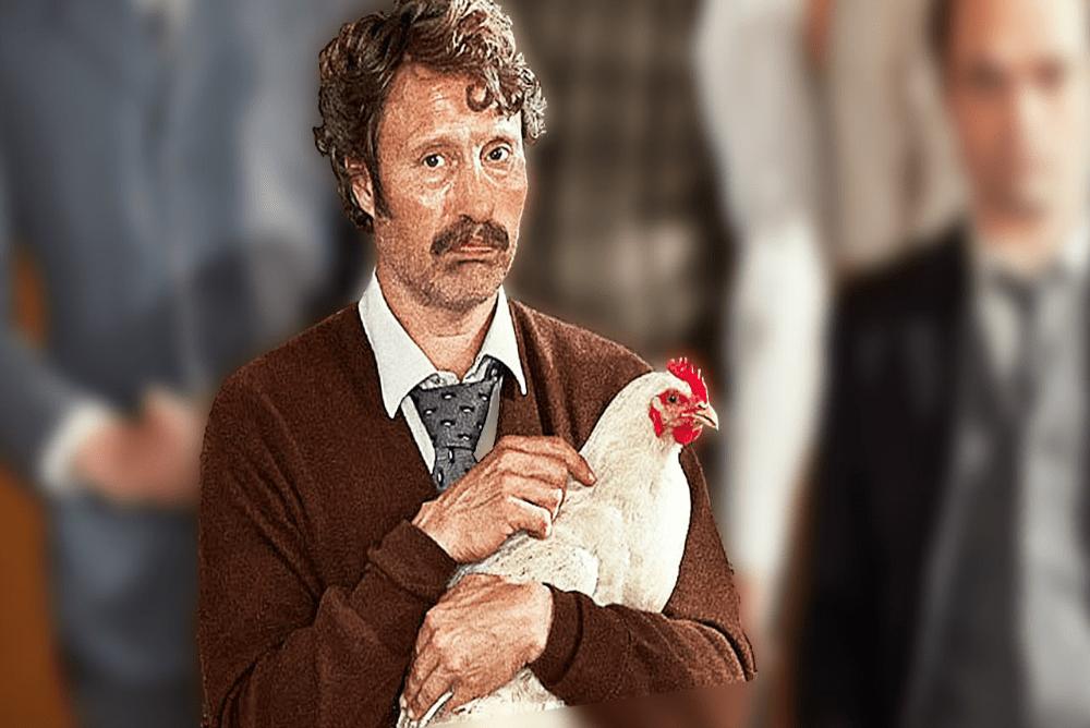 4. Men and Chicken, Elias with chicken