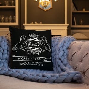 Horse Cleaning Woodland Branded Premium Black Pillow
