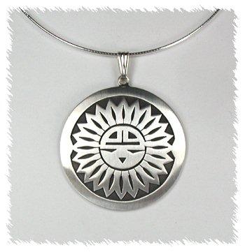 Native American Navajo  Sterling Silver Sunface pendant