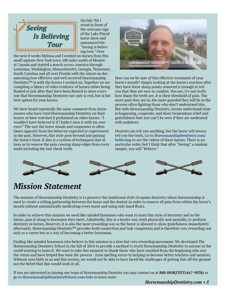 Horsemanship Dentistry Newsletter Volume 1 page 5