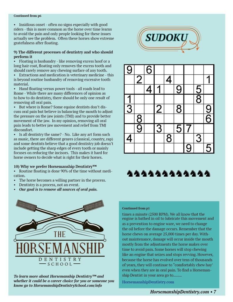 Horsemanship Dentistry Newsletter Volume 1 page 7
