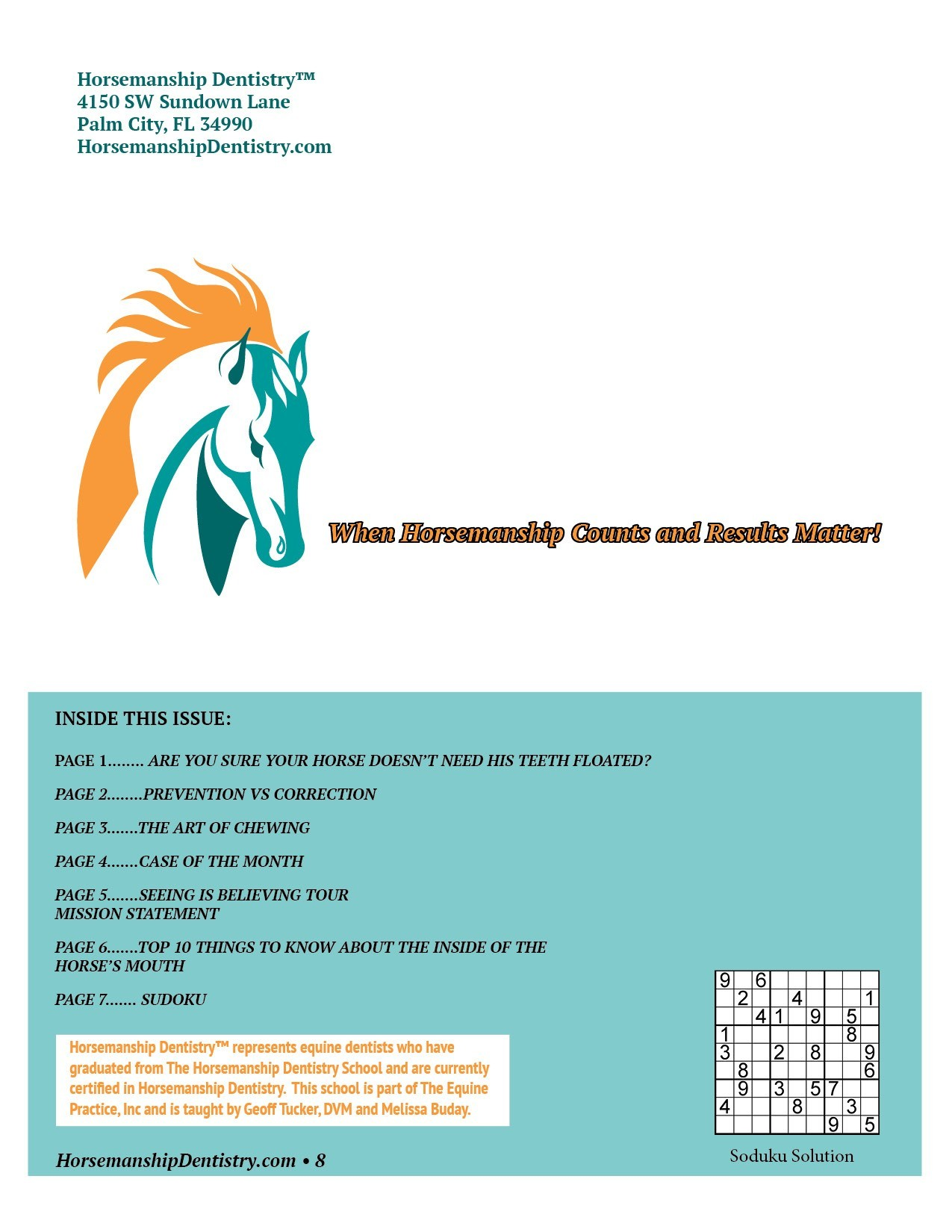 Horsemanship Dentistry Newsletter Volume 1 page 8