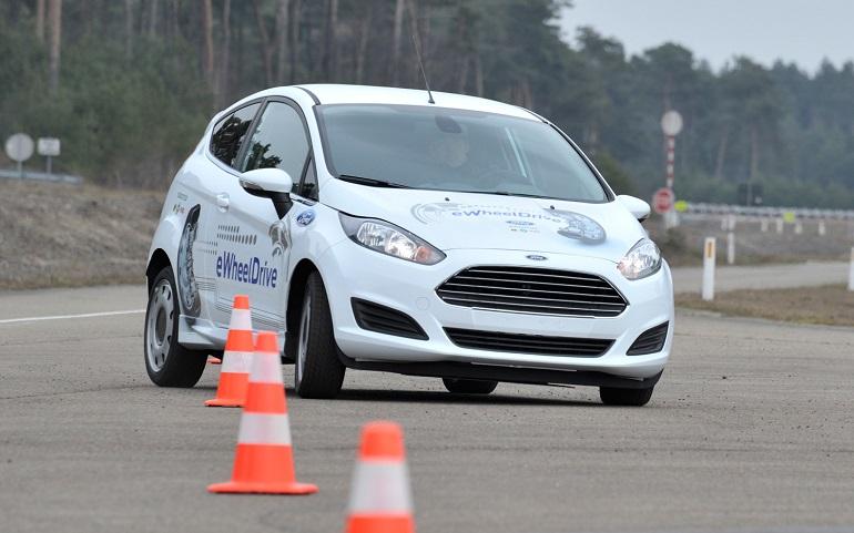 Ford-Fiesta-eWheelDrive-EV-prototype-in-slalom-course