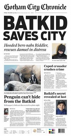 L'edizione del Gotham City Chronicle con Batkid in prima pagina...