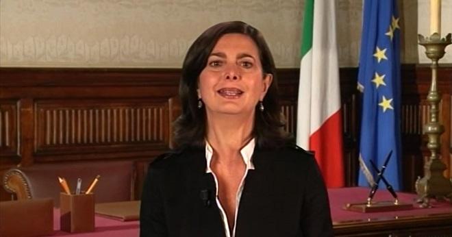 Laura Boldrini, presidente della Camera dei Deputati, eletta nella fila di SEL