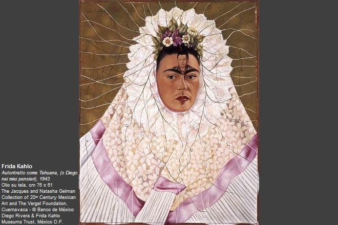 Frida Kahlo Autoritratto come Tehuana, (o Diego nei miei pensieri), 1943  Olio su tela, cm 76 x 61 The Jacques and Natasha Gelman Collection of 20th Century Mexican Art and The Vergel Foundation, Cuernavaca © Banco de México Diego Rivera & Frida Kahlo Museums Trust, México D.F.