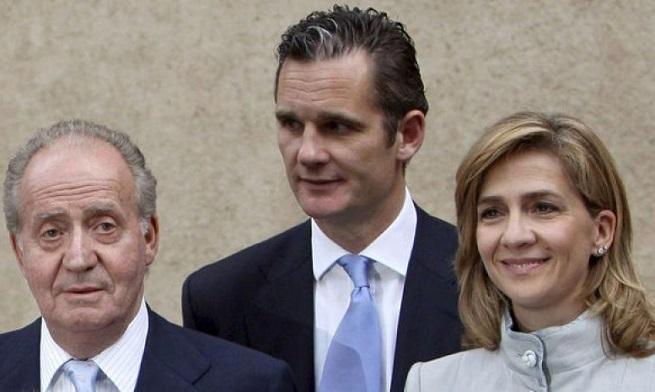 Don Juan Carlos di Borbone, ex re di Spagna, con il genero Inaki Urdangarin e la figlia Cristina
