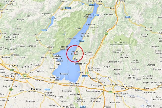 La zona delle due scosse di terremoto registrate in serata (da Google Map)