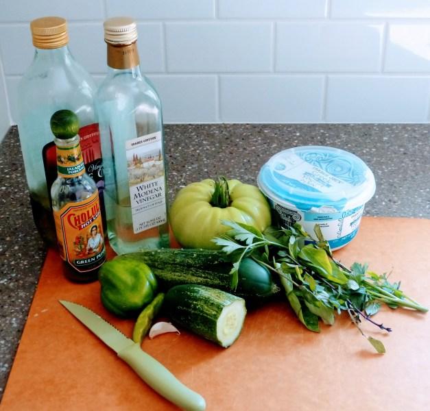 Green Tomato Gazpacho Ingredients | Horseradish & Honey