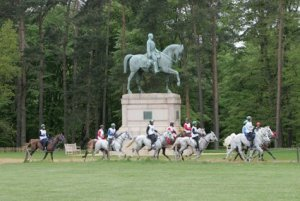 Riding past Prince Consort Staue