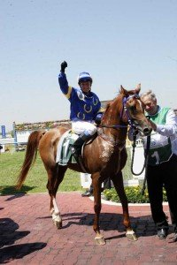 Aqaba Brown Dirt Cowboy under the Australian lady jockey Kati Spalding