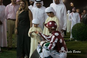 Peslier gives racing goggles to young Al Nahyan