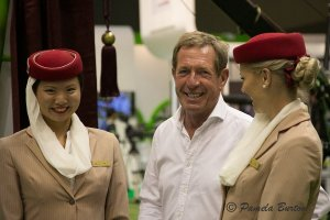 Tommo's job involves working with the Emirates' stewardess promotion crew