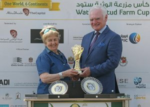 Delyth Thomas receives her trophy from ARO Director Bill Smith