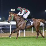 SOMOUD (FR) ridden by Richard Mullen wins the Sheihk bin Sultan Al Nayan Jewel Crown Prep, race 4, at Abu Dhabi, UAE