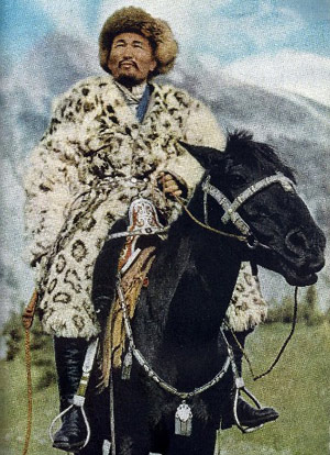 In 1954 National Geographic magazine documented how Kazakh chief Qali Beg led his tribe 3000 miles from Sinkiang, China to safety in Kashmir, India. Part of the tribe's journey was made on specially trained meat-eating horses, who were able to survive in the grassless Takla Makan desert.