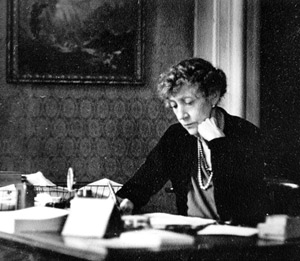 Dorothy Brooke at her desk in Salisbury, Wiltshire.