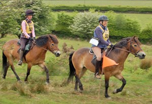 Mary and Katie Hannah with their Exmoor ponies on last year'sride.