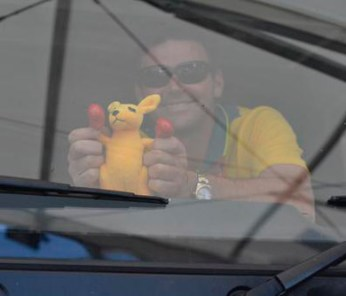 Australian team member Clayton Fredericks and his mascot en route to Greenwich.