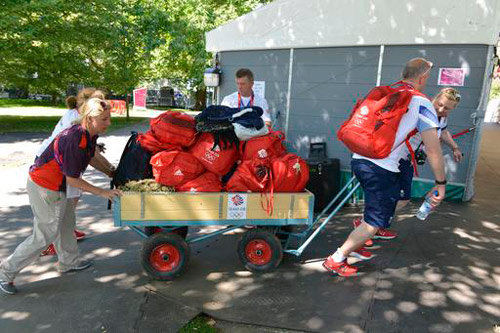 Team GB's kit heads for the stables.