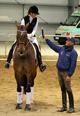 Vanessa Way and Arvan on a clinic with US rider Steffen Peters in 2009.