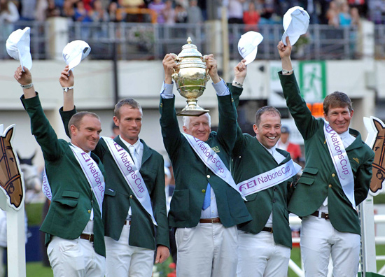 The winning Irish team on the podium after victory in the last leg of the FEI Nations Cup™ 2012 series in Dublin, Ireland today, (L to R) Darragh Kerins, Richie Moloney, Chef d'Equipe Robert Splaine, Cian O'Connor and Clem McMahon.