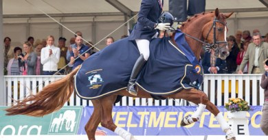 Michael Eilberg and Farouche make history at the FEI World Breeding Championships for Young Dressage Horses 2012 in Verden, Germany.
