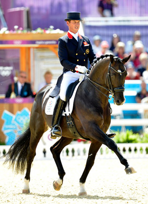 First day dressage leaders Carl Hester and Uthopia.
