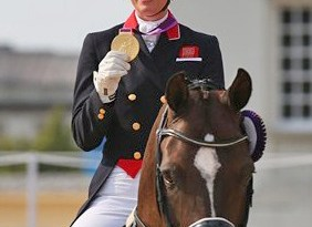 Charlotte Dujardin and Valegro with their gold medal.