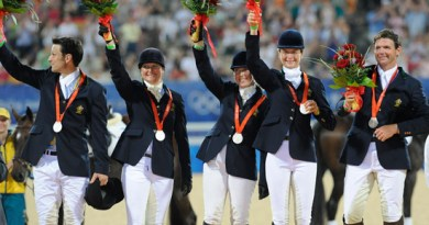 Australia's silver medal winning eventing team at the Beijing Olympics in Hong Kong in 2008.