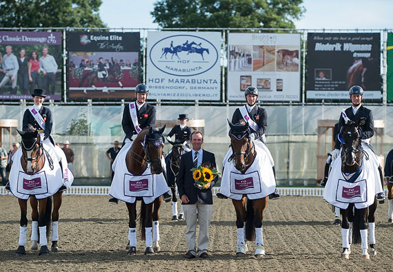 The British team won the fourth and final leg of the FEI Nations Cup™ Dressage pilot series at Hickstead (GBR) today. Pictured L to R : Nikki Crisp (Pasoa), Gareth Hughes DV Stenjkers Nadonna), Chef d'Equipe Richard Waygood, Michael Eilberg (Marakof) and Carl Hester (Uthopia). The Netherlands are the series champions.