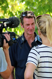 Mark Todd being interviewed by TV presenter Hayley Holt