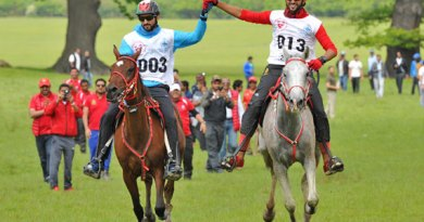 Sheikh Hamdan (left) crosses the finish line hand in hand with Sheikh Nasser of Bahrain at the Royal Windsor Endurance race in Windsor Great Park.