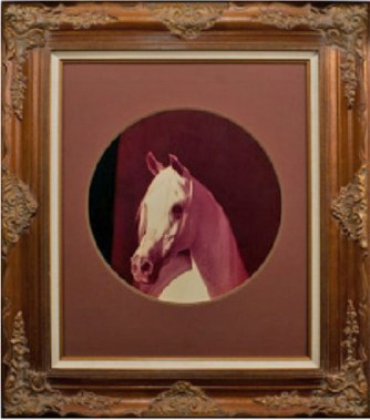 A photograph of Morafic by Polly Knoll became the most renowned image of the great stallion. This elaborately framed picture was prominently displayed in the stable offices at Las Palmas.