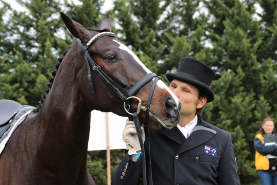 Shane Rose is pretty please with his young horse, Shanghai Joe, who is in sixth place.