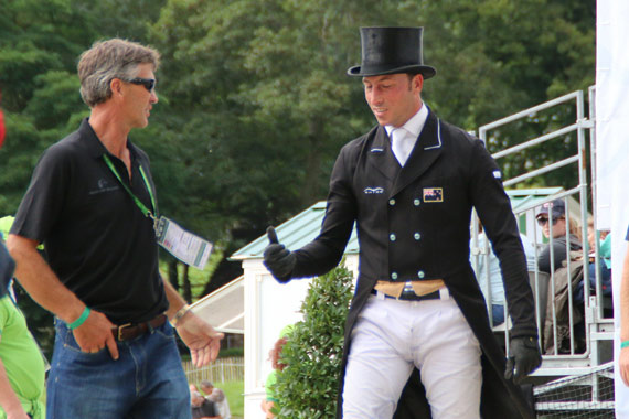 Tim Price, right, discusses his ride on Wesko with team-mate Andrew Nicholson after the dressage.