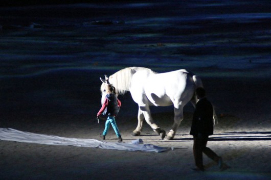 A small girl and a large white horse during the rehearsals for the Opening Ceremony.