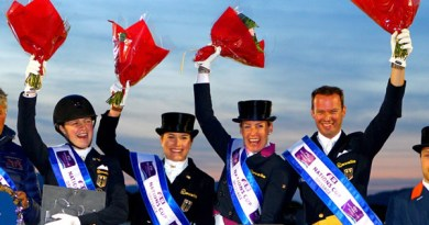 Team Germany won the opening leg of the FEI Nations Cup Dressage 2015 pilot series at Vidauban, France, from left Sanneke Rothenberger, Victoria Michalke, Bernadette Brune and Thomas Wagner.