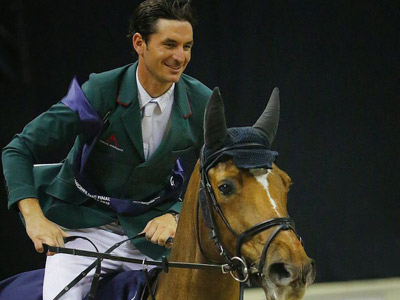 Steve Guerdat and Albfeuhren's Paille on their victory lap.