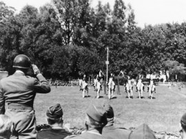 The Lipizzaner stallions performing for General Patton.