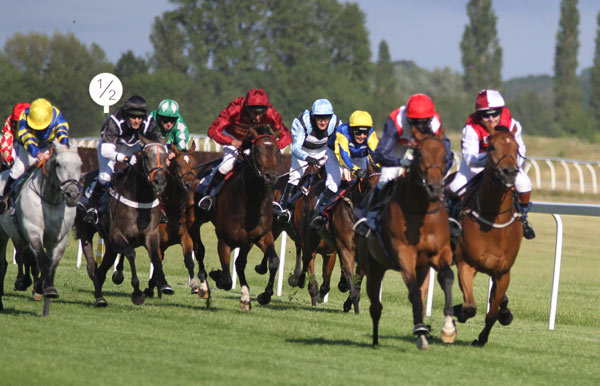 Runners in the George Frewer Charity Race at Newbury race to the finish line.