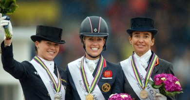 Grand Prix Freestyle medallists on the podium at the FEI European Dressage Championships, from left, Kristina Bröring-Sprehe from Germany (silver), Britain's Charlotte Dujardin (gold) and Spain's Beatriz Ferrer-Salat (bronze).