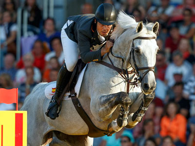 Leading Spanish showjumper Sergio Alvarez Moya, and Carlo 273.