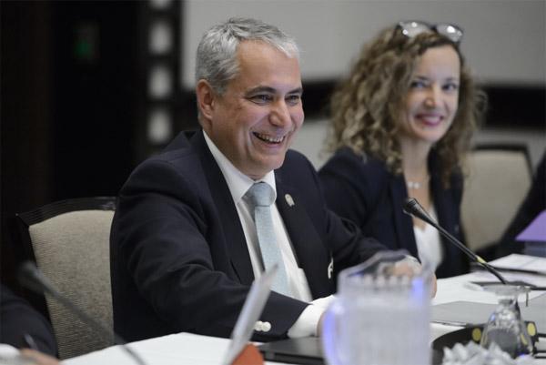 FEI President Ingmar De Vos and FEI Secretary General Sabrina Ibáñez (nee Zeender), at the in-person FEI Bureau meeting on Tuesday in Puerto Rico.