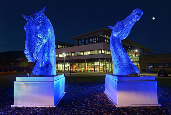 The 3m tall maquettes of The Kelpies on display at the Royal (Dick) School of Veterinary Studies.