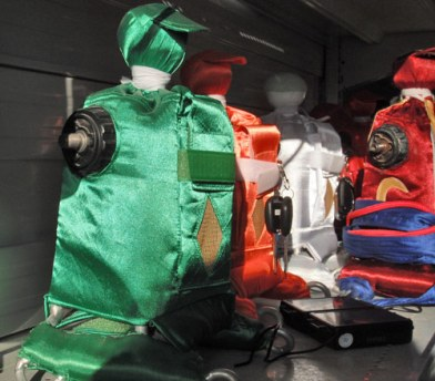 Robotic jockeys, complete with racing colours.