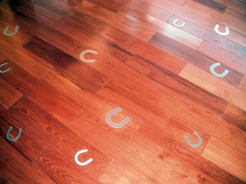 Good luck floor: an inlaid horseshoe design on a wooden floor.